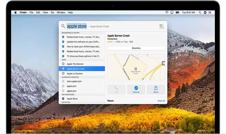Spotlight Search commands on Macbook